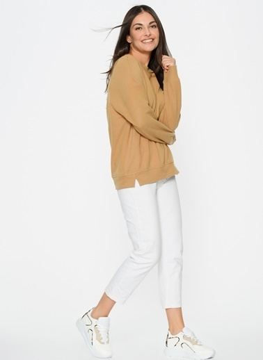 Loves You Loose Fit Selanik Sweatshirt Camel